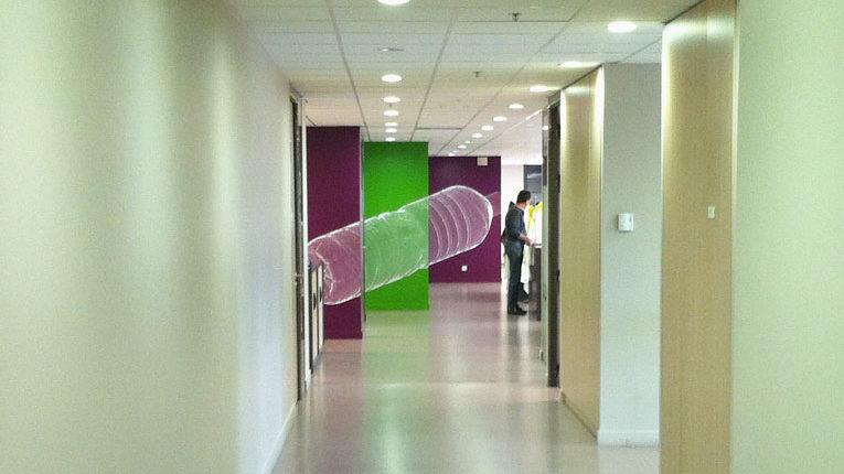 Evian Danone R&D Anamorphose Tight decoupe adhesif depoli bureaux Amphion site de production thomas voge